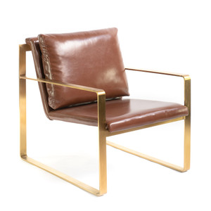 Markham Lounge Chair 28.25 x 35.75 x 32.75 H inches Vegan Leather, Brass Plated Aluminum