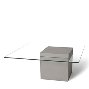 Highrise Coffee Table 39.5 x 39.5 x 15 H inches Concrete, Tempered Glass