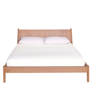 Plume Bed  64 x 90 x 35 H inches Solid White Oak  Sienna Finish