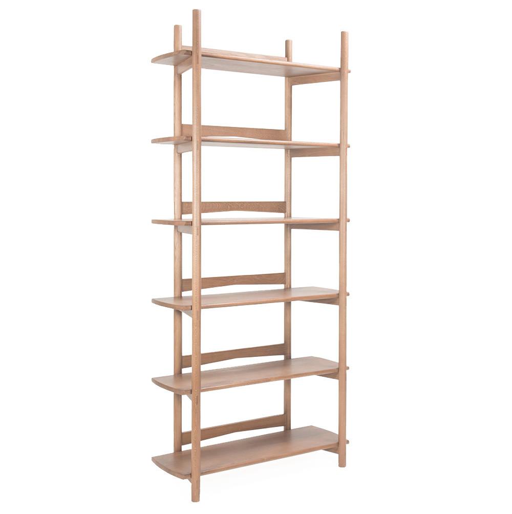 Mora Bookcase 35 x 14 x 81 H inches Solid White Oak  Sienna Finish