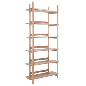 Mora Bookcase 35 x 14 x 81 H inches Solid White Oak  Sienna Finish