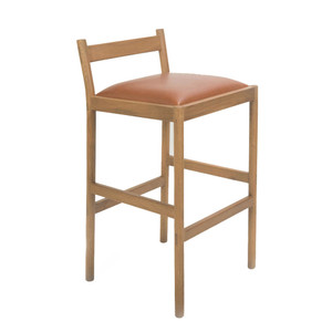 Carob Bar Stool 20 x 19 x 31 H inches, 26 inch seat height Solid White Oak  Sienna Finish