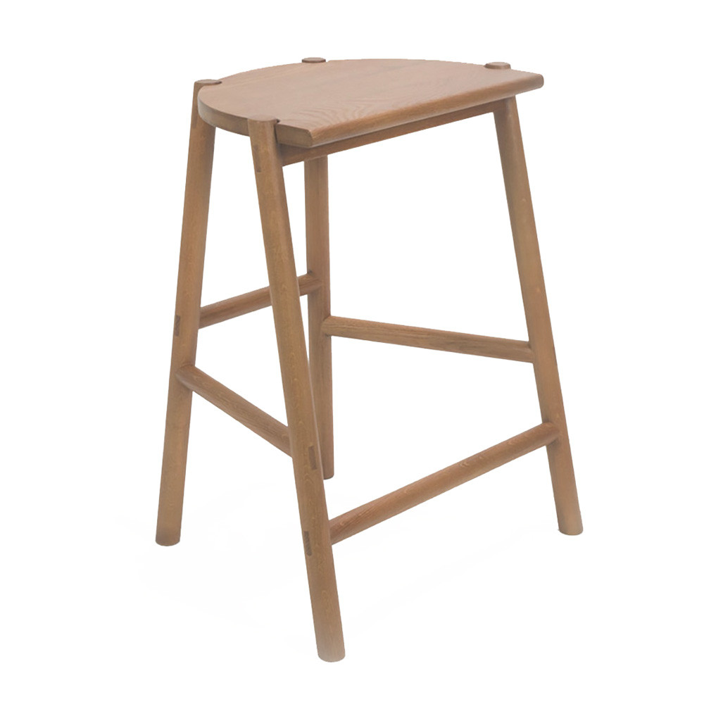 Moon Counter Stool 20 x 16 x 24 H inches Solid White Oak  Sienna Finish