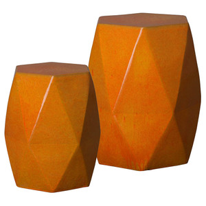 Brilliant Matrix Garden Stool Table 15 x 15 x 18 H inches and 18 x 18 x 22 H inches Ceramic Orange Glaze
