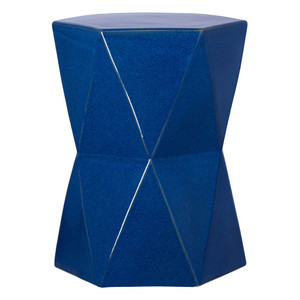 Matrix Hexagon Stool Table 17 x 17 x 22 H inches Ceramic Blue Glaze