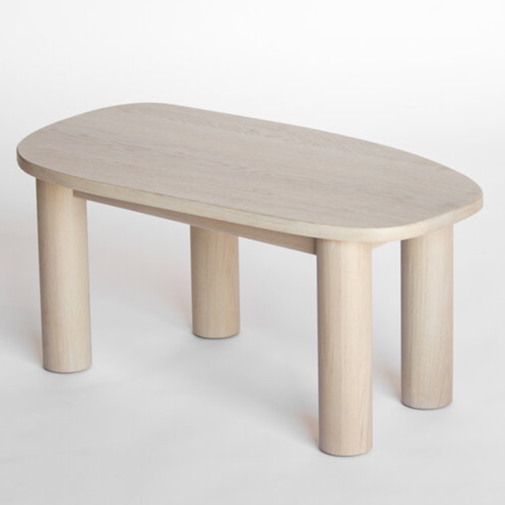Ohm Coffee Table 48 x 25 x 18 H inches Solid White Oak  Nude Finish