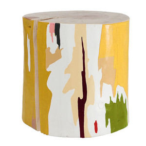 Tachi Modern Hand Painted Log Table 18 dia x 18 H inches