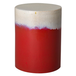 Dulce Garden Stool  15 dia x 20 H inches Ceramic Red Cascade Glaze