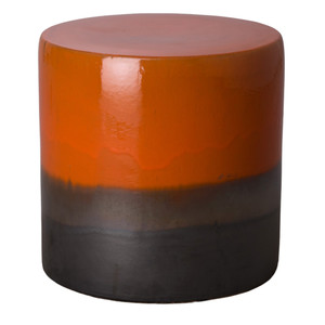 Tavia Ceramic Garden Stool 18 dia x 18 H inches Ceramic Burnt Orange Glaze