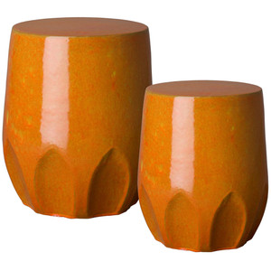 Calyx Ceramic Garden Stool Table 16.5 dia x 18 H inches and 17 dia x 22 H inches Ceramic Bright Orange