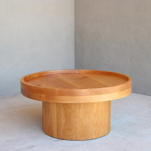 Lirade Cocktail Table 30 dia x 15 H inches Alder Sealed Topcoat