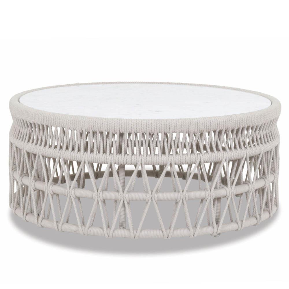 Dana Coffee Table 41 dia x 18 H inches Powdercoated Aluminum Frame, Rope, Carrara Stone