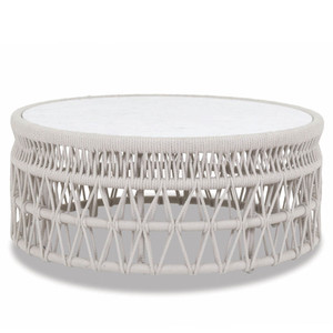 Dana Coffee Table 41 dia x 18 H inches Powdercoated Aluminum Frame, Rope, Carrara Stone