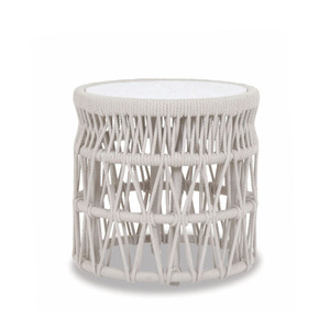 Dana End Table 20 dia x 20 H inches Powdercoated Aluminum Frame, Rope, Carrara Stone
