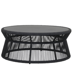 Milano Outdoor Coffee Table 40 dia X 17 H inches Powdercoated Aluminum Frame, Rope Charcoal Grey