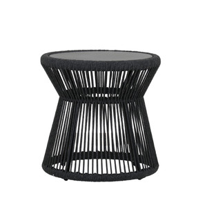 Milano Outdoor End Table 20 dia X 20 H inches Powdercoated Aluminum Frame, Rope Charcoal Grey