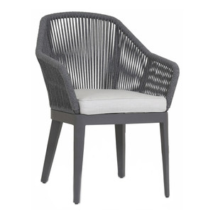 Milano Dining Chair 25 x 19 x 36 H inches, 18 inches seat height Aluminum, Canvas Charcoal Grey