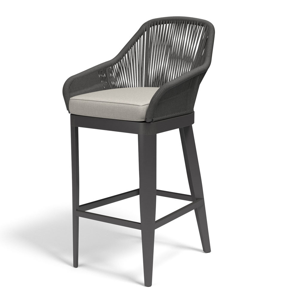 Milano Barstool  26 x 26 x 42 H inches, 29 inches seat height Aluminum, Canvas Charcoal Grey