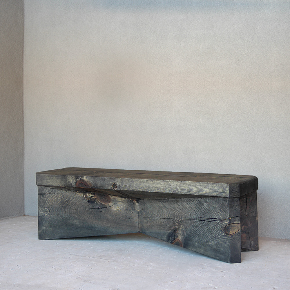 Leopold Wooden Bench 14 x 60 x 18 H inches Pale Black Finish
