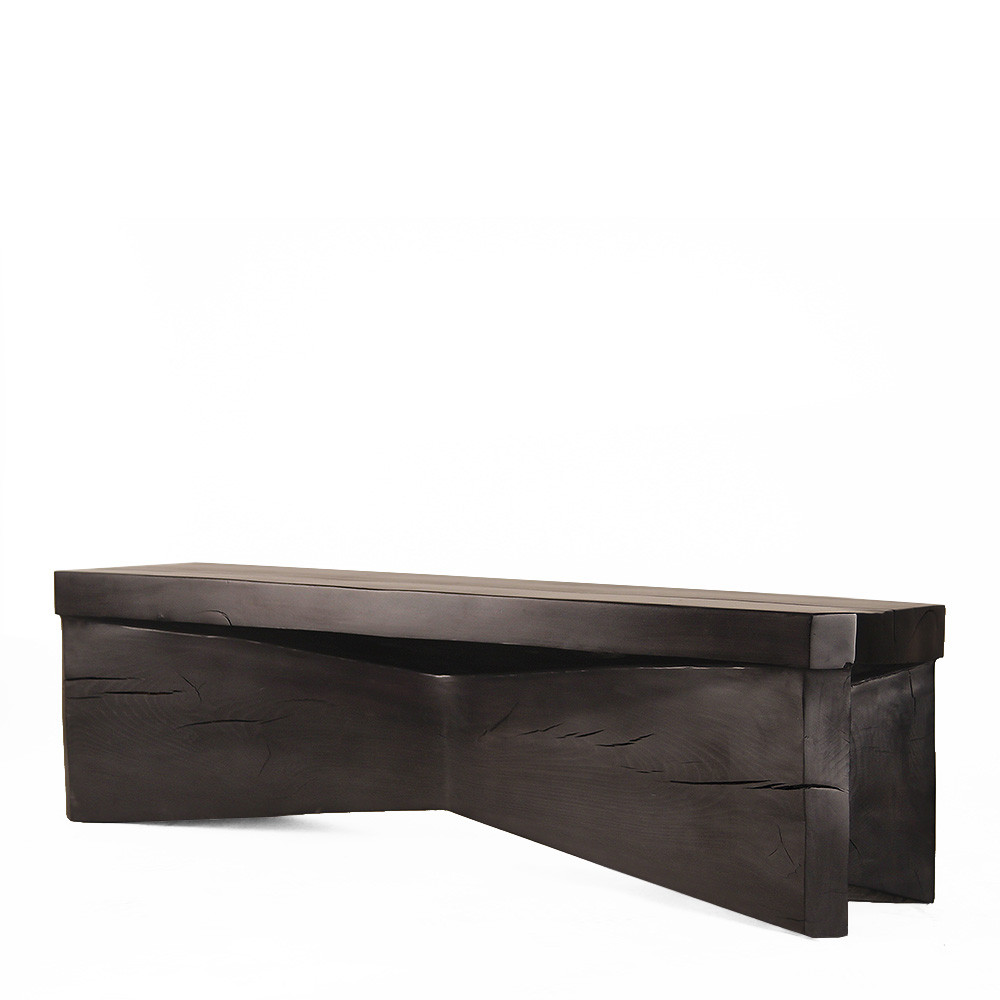 Leopold Wooden Bench 14 x 60 x 18 H inches Ebony Finish