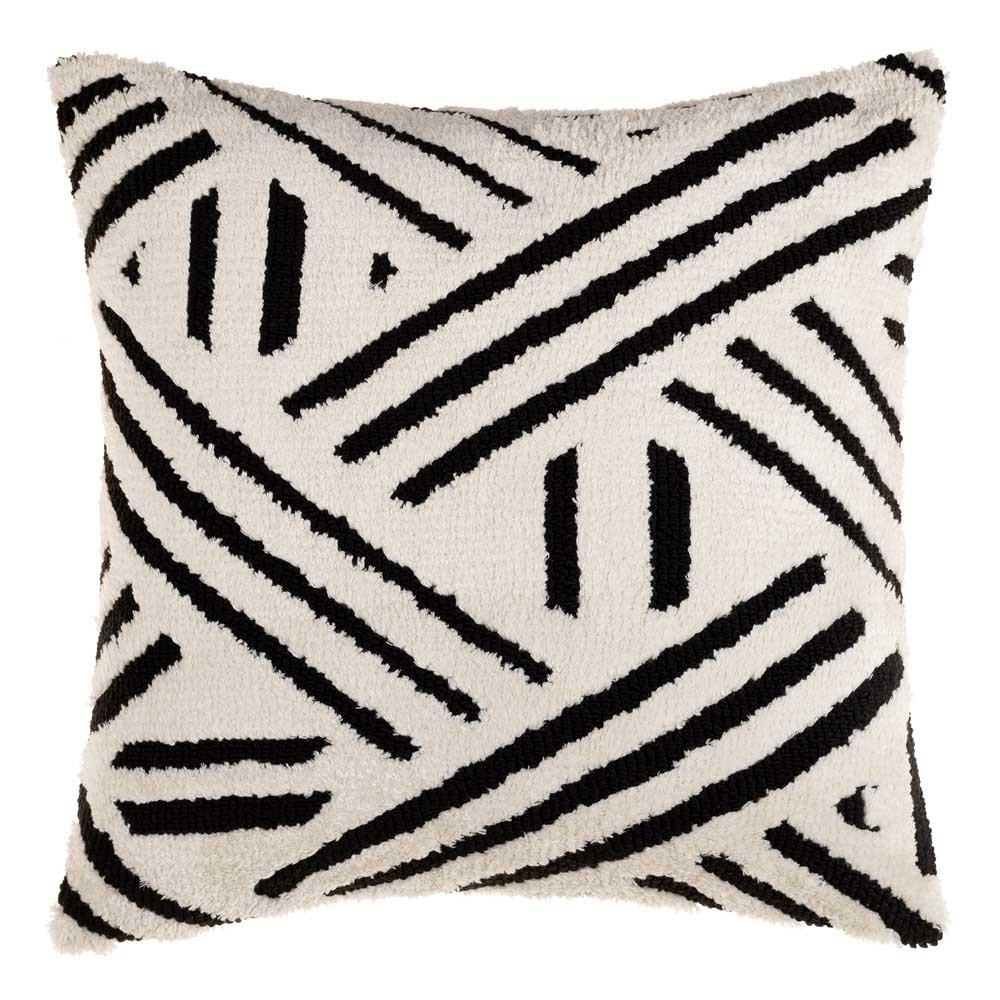 Sheldon Black and White Geometric Pillow - SDO-002 20 x 20 inches Acrylic, Cotton Style A