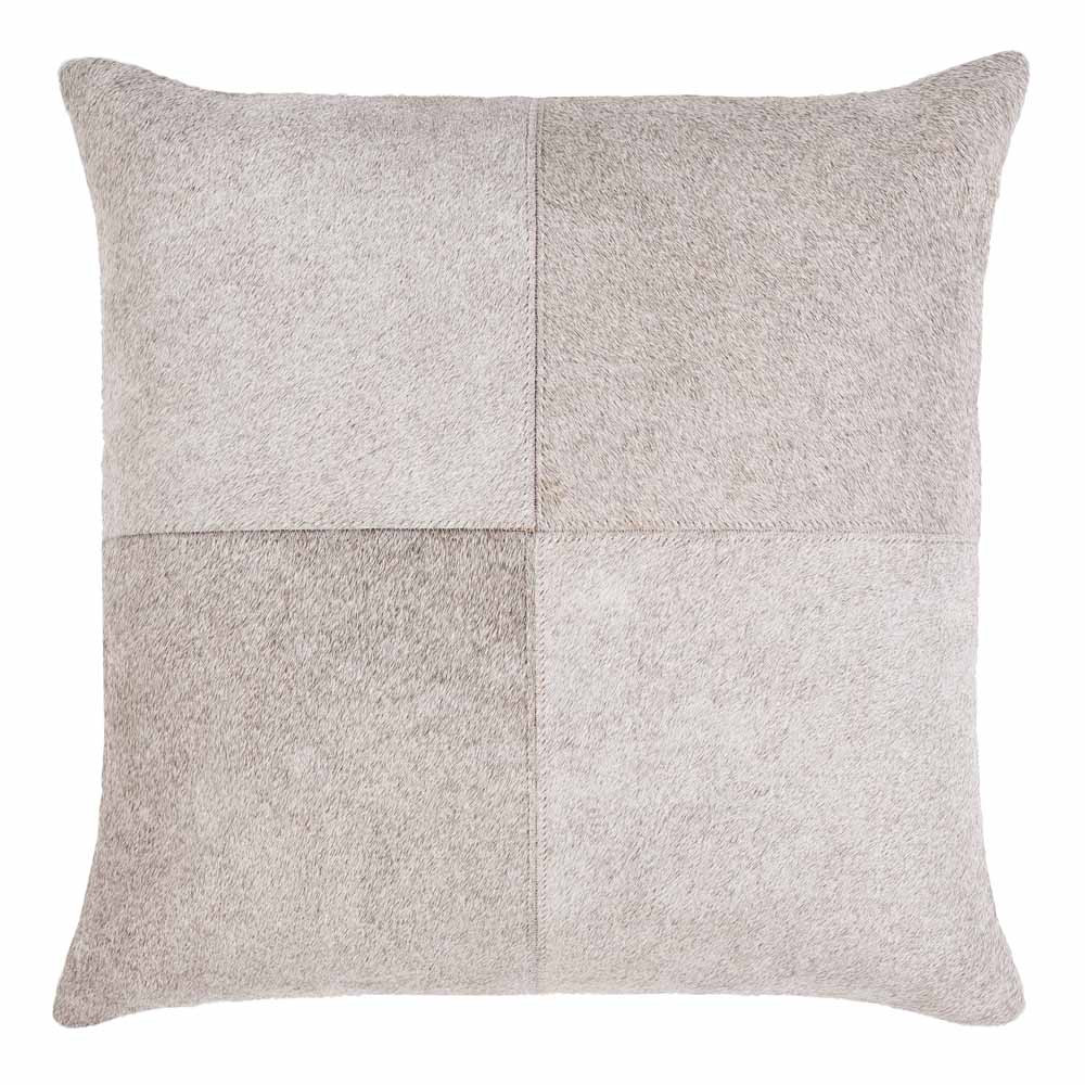 Zavala Cowhide Pillow - ZVA-003 18 x 18 H inches Hair-On-Hide Light Grey