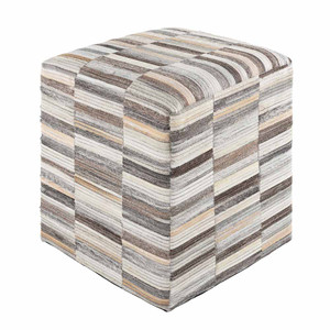 Zander Cowhide Pouf - ZNPF-005/006 18 x 18 x 18 H inches Hair-On-Hide