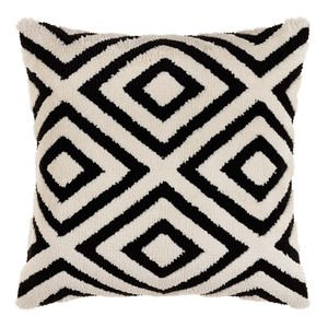 Miranda Black and White Geometric Pillow 20 x 20 inches Acrylic, Cotton Style B