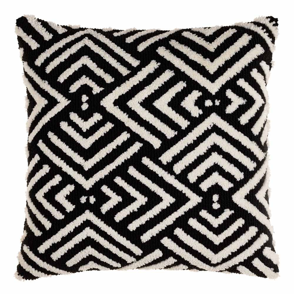Selena Black and White Geometric Pillow 20 x 20 inches Acrylic, Cotton Style C