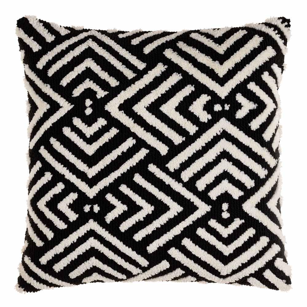 Selena Black and White Geometric Pillow - SDO-001 20 x 20 inches Acrylic, Cotton