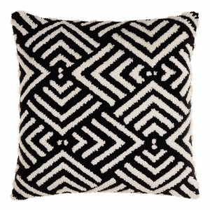 Selena Black and White Geometric Pillow - SDO-001 20 x 20 inches Acrylic, Cotton