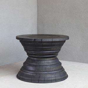 Málaga Turned Wood Table 24 dia x 18 H inches Pale Black Exterior Oiled Finish