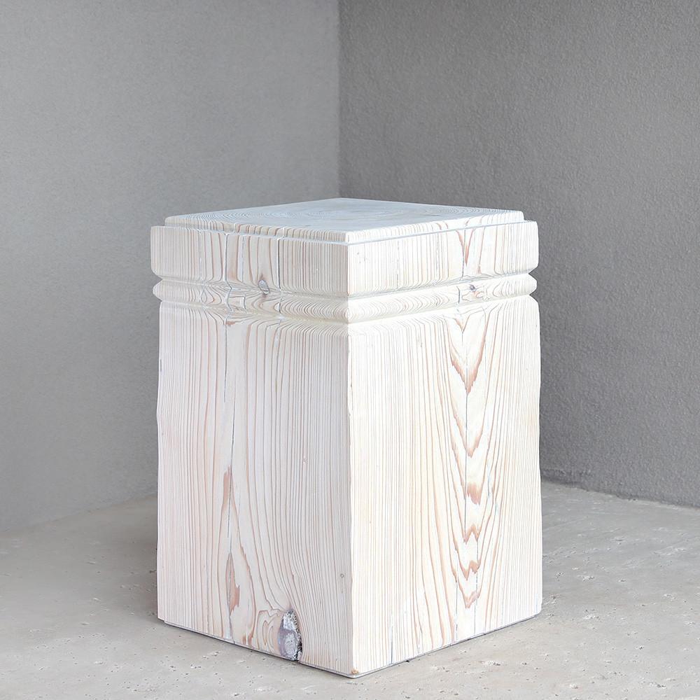Doric Cube Table 14 x 14 x 21 H inches White Mist
