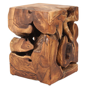 Cassio Teak Root Side Table 14 x 14 x 19 H inches
