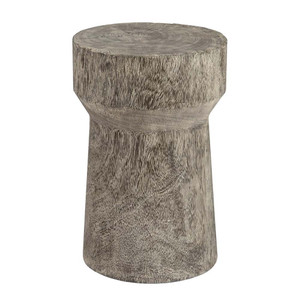 Abu Abu Grey Wash Stool Table 12 dia x 18 H inches Chamcha Wood