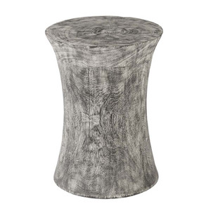 Cinzento Grey Wash Stool Table 15 dia x 20 H inches Mango wood