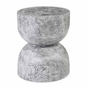 Kijivu Grey Wash Stool Table - TH99995 16 dia x 20 H inches Chamcha Wood