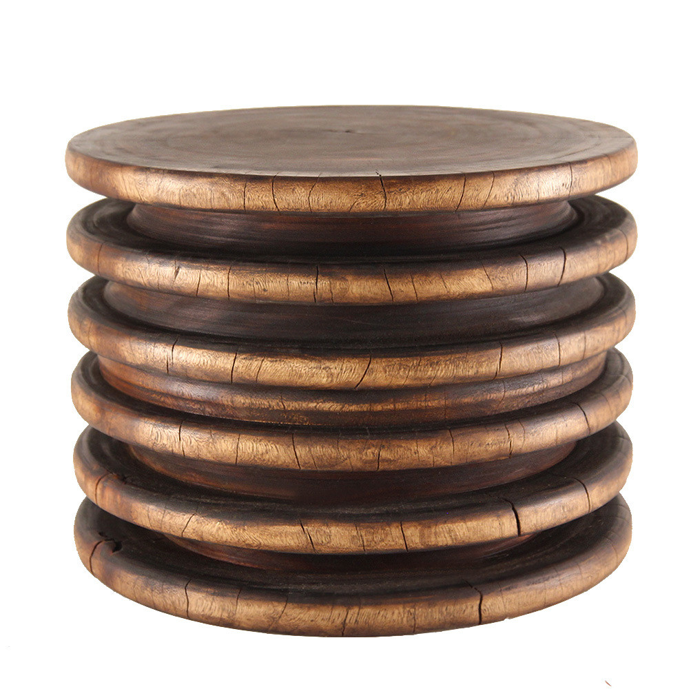 Ring Low Table 24 dia x 18 H inches Light Walnut Finish