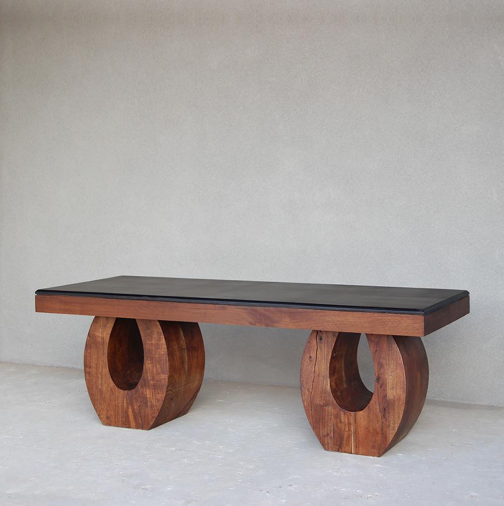 Rialto Bench Table 55 x 18 x 18 H inches Margosa Wood Light Walnut & Ebony