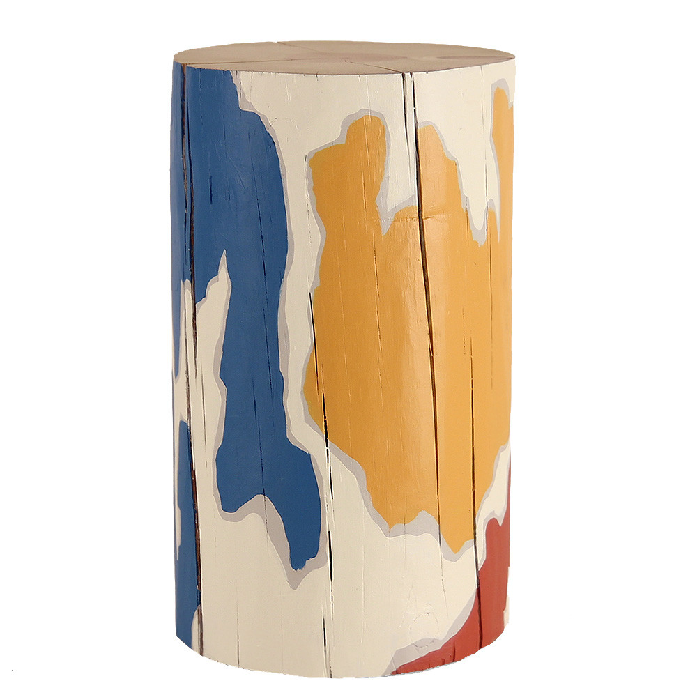 Gota Hand Painted Log Table 12 dia x 20 H inches