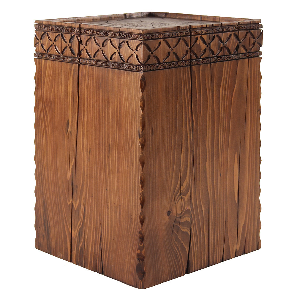Chimayo Cube Table 14 x 14 x 21 H inches Honey Brown Finish