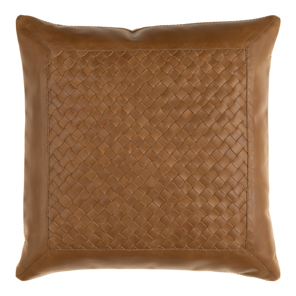 Lawdon Woven Leather Pillow 18 x 18 inches Leather