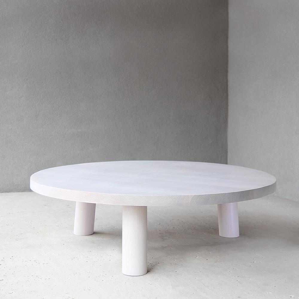 Maxime Cocktail Table 48 dia x 12 H inches White Oak White Wash