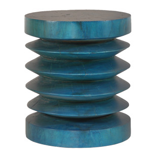 Abaidoo Low Stool Table 16 dia x 18 H inches Azure Finish
