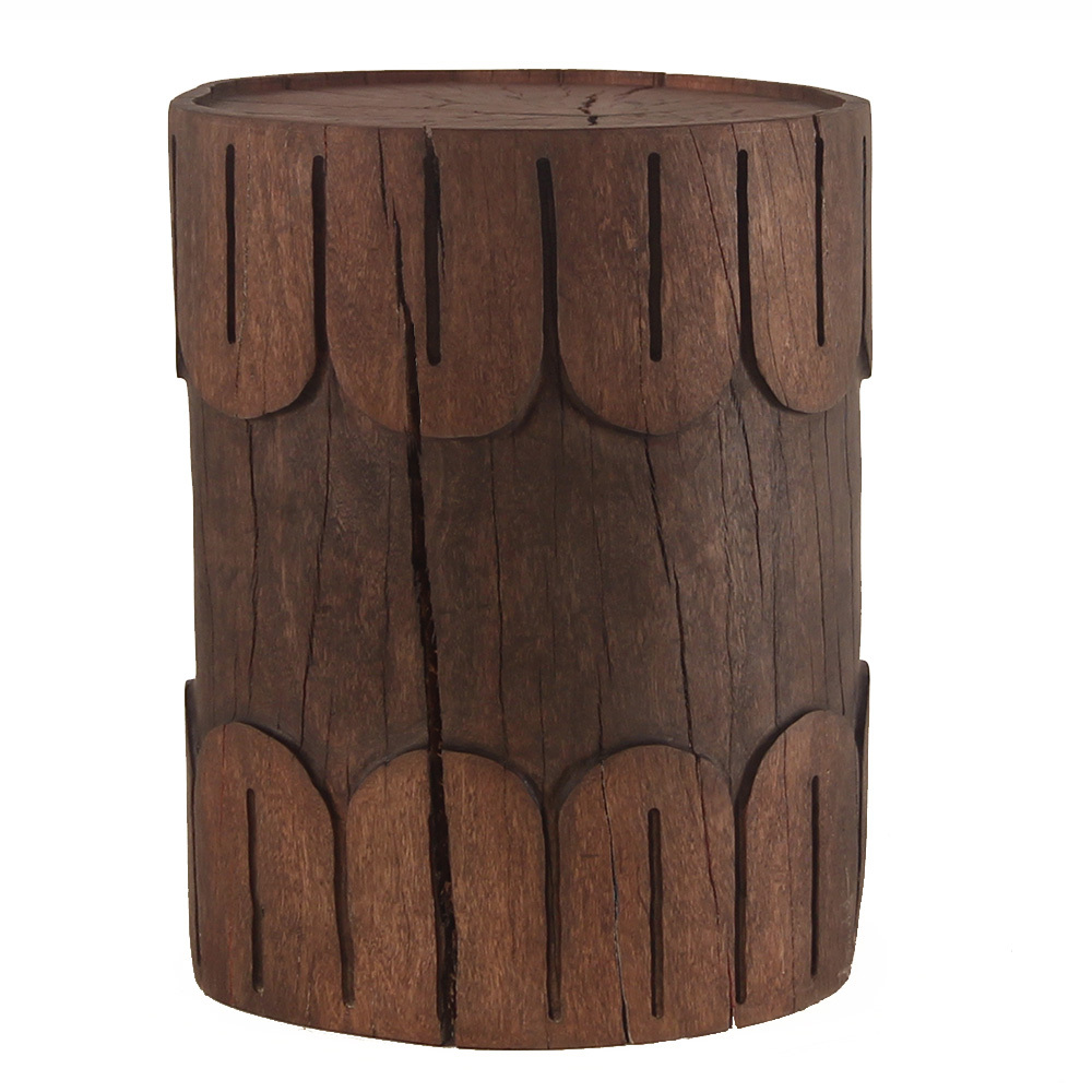 Bisous Hand Carved Log Table 12 - 16 dia x 18 H inches