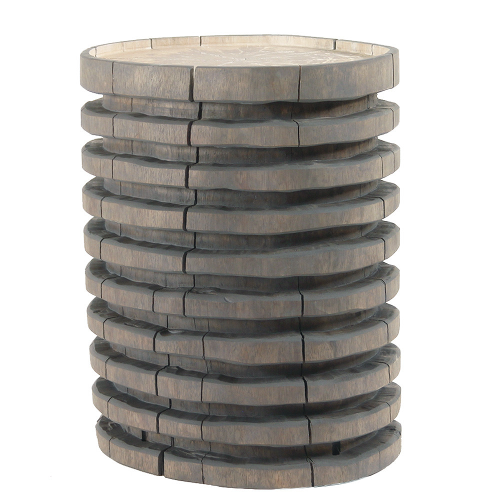 Escalera Hand Carved Log Table 12 - 16 dia x 18 H inches Grey Mist