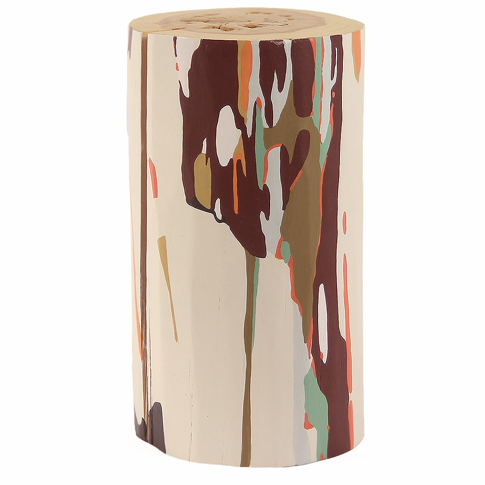 Outono Hand Painted Log Table 12 dia x 22 H inches