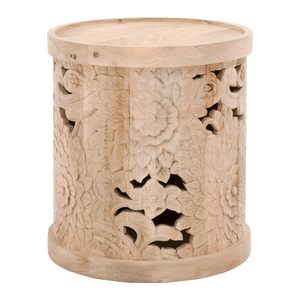 Flora Hand Carved End Table - 1867.NBM 20.75 dia x 23 H inches Mango Wood