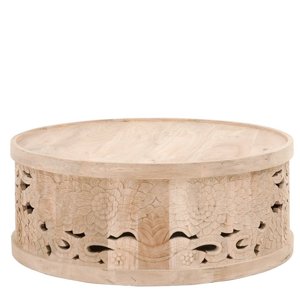 Flora Hand Cared Coffee Table - 1866.NBM 40 dia x 16 H inches Mango Wood