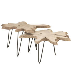 Drift Nesting Coffee Table - 6826.GT 30-39 dia x 19.5 H inches Solid Teak, Iron